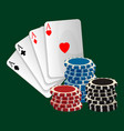 ace playing cards with symbols and gambling chips vector image