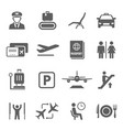 airport icon set travel airplane and vector image vector image