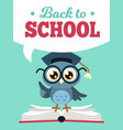 back to school owl wise owl in vector image