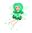 beautiful fairy with wings long hair and dress in vector image