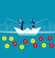 business team fishing coins concept business vector image vector image