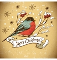 Christmas Greeting Card with bullfinches vector image vector image