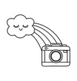 cloud with rainbow and camera black and white vector image