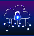 cloud with security lock doodle style vector image