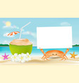 coconut water and crab with paper on a sea beach vector image vector image