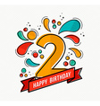 colorful happy birthday number 2 flat line design vector image vector image