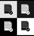 document and check mark icon isolated on black vector image vector image
