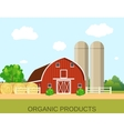 farm with wooden village house vector image