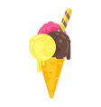 flat style of tasty cone colorful ice cream icon vector image vector image