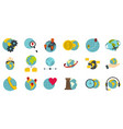 global icon set flat style vector image vector image