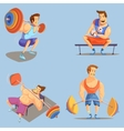 Gym Cartoon Icons Set vector image vector image