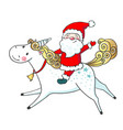 hand drawn cute unicorn and santa claus vector image vector image