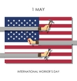 Hands with tools on the background of the USA flag vector image