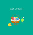 happy easter day funny easter eggs in basket vector image