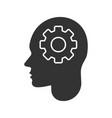 human head with cogwheel inside glyph icon vector image vector image