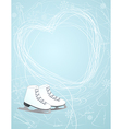 Ice skates with a heart symbol vector image vector image