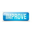 improve blue square 3d realistic isolated web vector image vector image