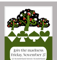 Invitation card - Tree from Wonderland Garden vector image