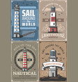 maine sailing adventure nautical ocean lighthouse vector image vector image