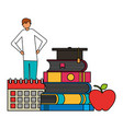 man student books school suppplies vector image vector image