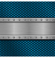 metal rivetted plate on blue perforated background vector image