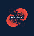 modern conceptual logo sea food with vector image