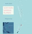 northern mariana islands detailed editable map vector image vector image