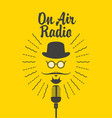 on air radio banner with microphone and man face vector image vector image