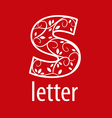 ornate letter S logo on a red background vector image vector image