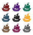 pirate ship icon in black style isolated on white vector image