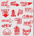 sale stickers with arrows modern design collection vector image vector image