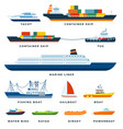 set boats ship yacht sail flat vector image