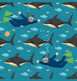 sharks and scuba diver seamless pattern vector image vector image
