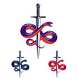 snake and dagger serpent wraps around a sword vector image vector image