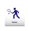 tennis sport symbol stickman solid icon vector image vector image