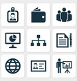 trade icons set with global wallet business vector image vector image