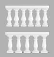 white marble balustrade handrail for balcony vector image