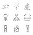 backyard icons set outline style vector image