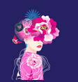 beautiful girl with flowers on dark vector image vector image