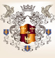 beautiful heraldic design with shield in vintage vector image vector image