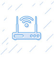 blue router and wi-fi signal symbol line icon vector image vector image