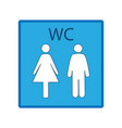 blue silhouette men and women icon in white square vector image vector image