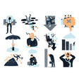 business failure flat icons set vector image vector image