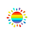 Cartoon rainbow color sun Isolated White vector image vector image
