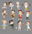 cartoon set children in sports training vector image vector image