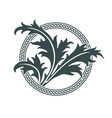 celtic design thistle leaves and celtic pattern vector image vector image