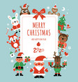 christmas characters card santa deer and fir vector image