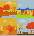 collection of simple art autumn scenery graphic vector image