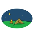 drawing of night camping scene with tent vector image vector image