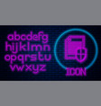 glowing neon document protection concept icon vector image vector image